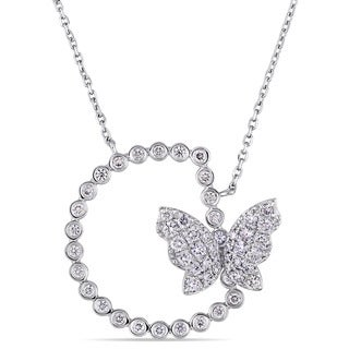 Miadora Signature Collection 18k White Gold 4/5ct TDW Diamond Semi-Circle Floating Butterfly Necklace (G-H, SI1-SI2)