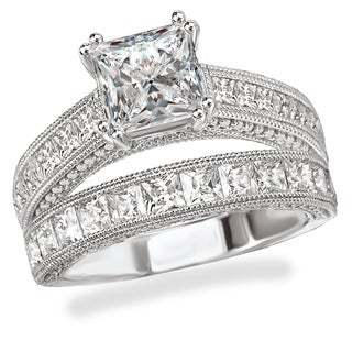 Avanti Rhodium Plated Sterling Silver Cubic Zirconia Princess Cut Center With Milgrain Detail Vintage Bridal Set