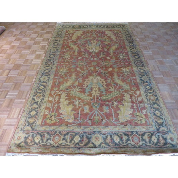 Hand Knotted Heriz Wool Fine Persian Oriental Area Rug: Shop Hand Knotted Rust Red Fine Serapi Heriz With Wool