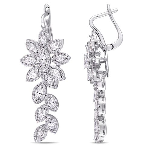 Miadora Signature Collection 18k White Gold 2 5/8ct TDW Diamond Floral Leaf Dangle Earrings