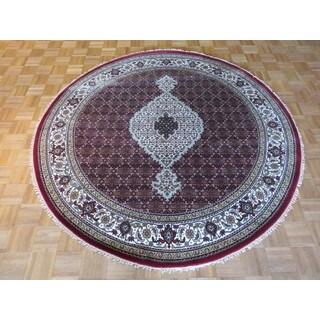 Hand-knotted Red Fine Mahi Tabriz Wool and Silk Oriental Rug (6'10 x 7)