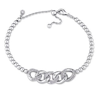 Miadora Signature Collection 18k White Gold 2/5ct TDW Diamond Interlinked Beaded Bracelet (G-H, SI1-SI2)