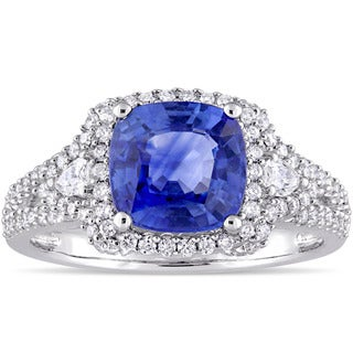 Miadora Signature Collection 14k White Gold Sapphire and 3/5ct TDW Diamond Vintage-Inspired Engagement Ring (G-H, SI1-SI2)
