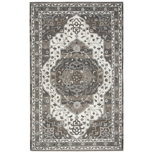 Shop Beige Wool Hand Knotted Oriental Persian Area Rug 6: Shop Hand-tufted Suffolk Beige Oriental Medallion Wool