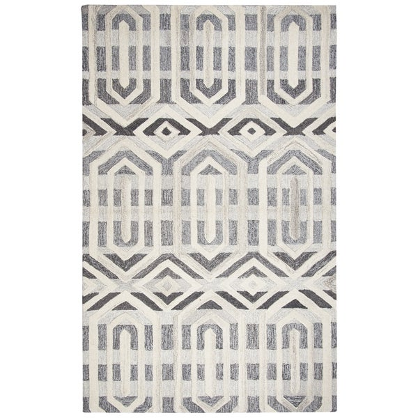 Hand-tufted Suffolk Grey Geometric Wool Area Rug (10' x 13')