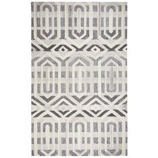 Hand-tufted Suffolk Grey Geometric  Wool Area Rug  (10' x 13')