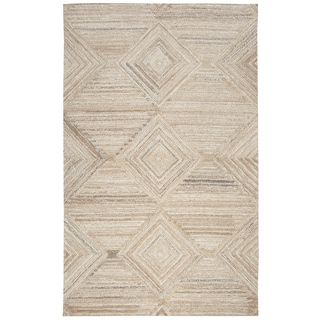 Hand-tufted Suffolk Tan Geometric/ Solid  Wool Area Rug  (10' x 13')