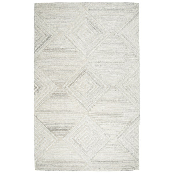 Hand-tufted Suffolk Ivory Geometric/ Solid Wool Area Rug (10' x 13')