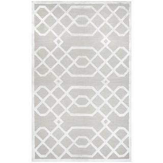 Hand-tufted Monroe Beige Trellis Wool and Viscose Area Rug (9' x 12')