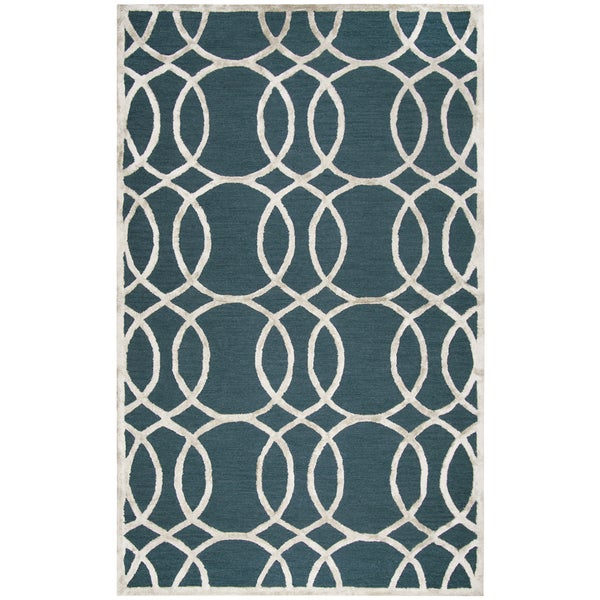 Hand-Tufted Monroe DK. Teal Geometric Wool & Viscose Area Rug (9' x 12')