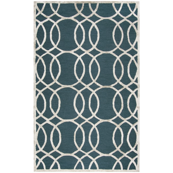 Hand-tufted Monroe Dk. Teal Geometric Wool and Viscose Area Rug (8' x 10')