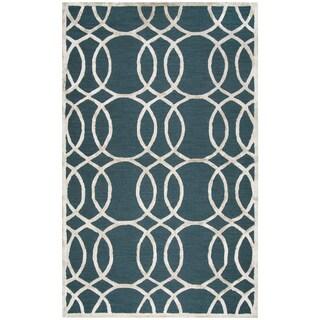 Hand-tufted Monroe Dk. Teal Geometric Wool and Viscose Area Rug (8' x 10')