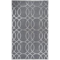 Hand-Tufted Monroe Medium Grey Geometric Wool and Viscose Area Rug (9' x 12')