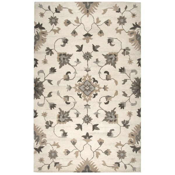 Hand Knotted Persian Wool Area Rug 5 10: Shop Hand-tufted Suffolk Beige Oriental/ Floral Wool Area