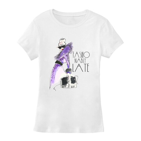 BY Jodi Women's Slim Fit 'fashionably late' Graphic T-Shirt