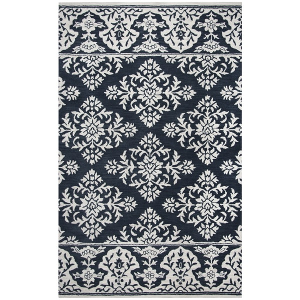 Hand-Tufted Marianna Fields Navy Medallion with boarder damask Wool Area Rug (8' x 10')