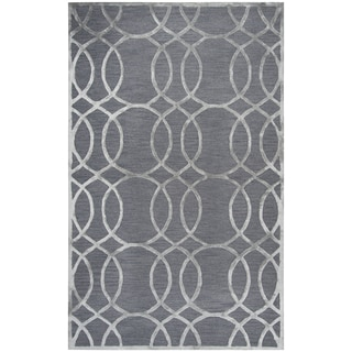 Hand-tufted Monroe Medium Grey Geometric Wool and Viscose Area Rug (8' x 10')