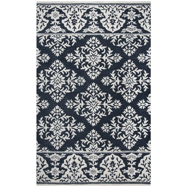 Hand-tufted Marianna Fields Navy Medallion with Boarder Damask Wool Area Rug (9' x 12')