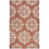 Hand-tufted Leone Coral Medallion Wool Area Rug  (9' x 12')