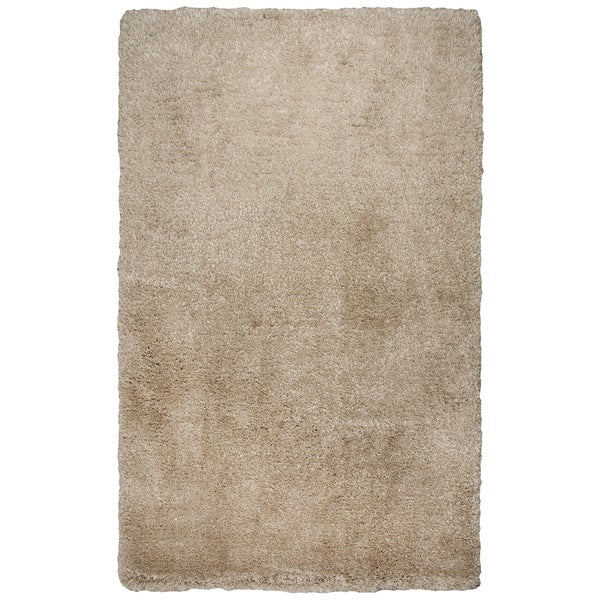 Hand-tufted Commons Champagne Solid Polyester Area Rug (9' x 12') - 9' x 12'