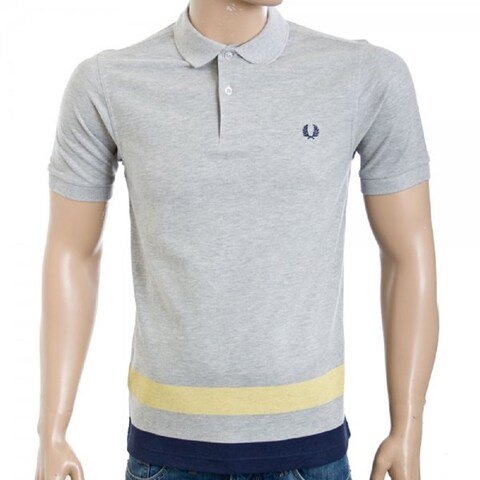 Fred Perry Men's Grey Cotton Polo T-shirt
