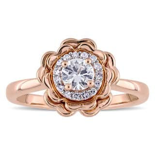 Laura Ashley White Sapphire and 1/10ct TDW Diamond Halo Flower Ring in 10k Rose Gold (G-H,I2-I3)|https://ak1.ostkcdn.com/images/products/14386398/P20958243.jpg?impolicy=medium