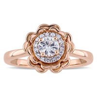 Laura Ashley White Sapphire and 1/10ct TDW Diamond Halo Flower Ring in 10k Rose Gold (G-H,I2-I3)