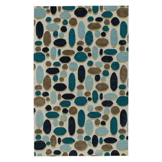 Evening Shade Rectangle Ecru Coffee Hand Tufted Rug (9' x 12')