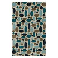 Evening Shade Rectangle Ecru Coffee Hand Tufted Rug (9' x 12') - 9' x 12'