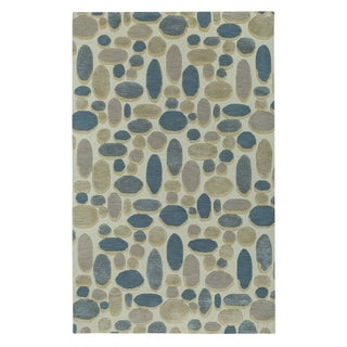 Evening Shade Rectangle Ecru Blue Hand Tufted Rug (9' x 12')