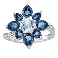Laura Ashley London and Sky Blue Topaz with 1/10ct TDW Diamond Flower Ring in Sterling Silver (G-H,