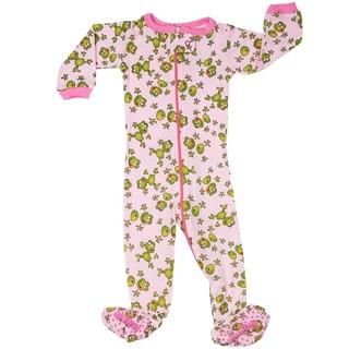 Elowel Baby Girls' Footed Froggies Pink Cotton Size 6M - 5 Years Pajama Sleeper
