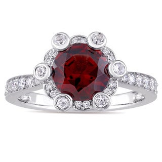 Miadora Signature Collection 14k White Gold Garnet and 1/2ct TDW Diamond Floral Halo Engagement Ring (G-H, SI1-SI2)