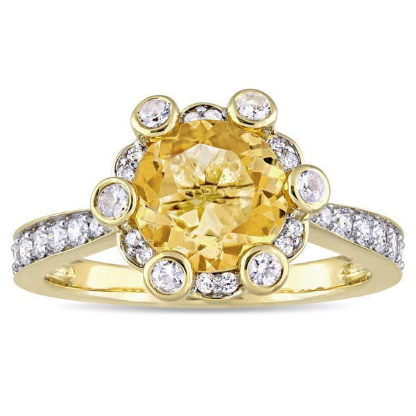 Miadora Signature Collection 14k Yellow Gold Citrine and 1/2ct TDW Diamond Engagement Ring (G-H, SI1