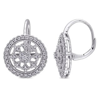 Miadora Signature Collection 14k White Gold 1/2ct TDW Diamond Filigree Halo Leverback Earrings