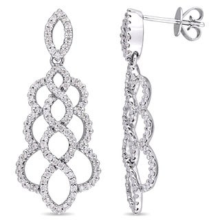 Miadora Signature Collection 14k White Gold 1ct TDW Diamond Graduated Infinity Dangle Earrings (G-H, I1-I2)