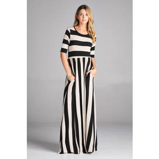 Spicy Mix Lydia Women's Striped Black/Tan Rayon Short-sleeved Maxi Dress with Side Slit Pockets