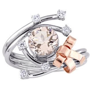 Miadora Signature Collection 2-Tone 18k Rose and White Gold Morganite and 1/5ct TDW Diamond Bow Bypass Ring (G-H, SI1-SI2)