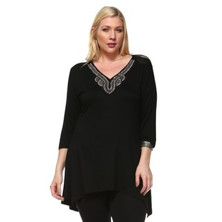 White Mark Women's Tonya Rayon and Spandex Plus-size Tunic