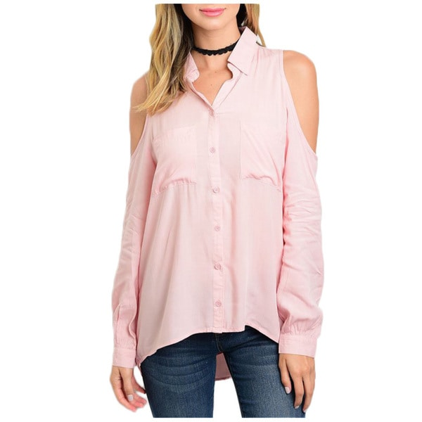 b9a5163fb16 Shop JED Women s Cold Shoulder Pink Button-down Collared Shirt ...