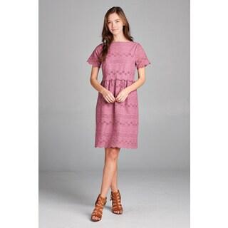 Spicy Mix Cadence Scalloped Hem Short Sleeved A-Line Dress