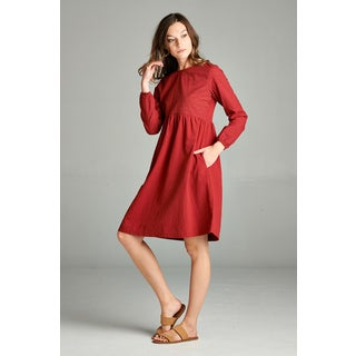 Spicy Mix Calliope Cotton Floral Stitched Long-sleeved Side Slit Pockets Dress