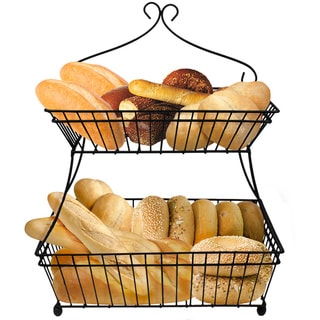 2-Tier Flat-Back Metal Bread Basket - Black