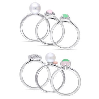 Miadora White and Rose Plated Sterling Silver Pink Green Dyed Quartz White Topaz Pearl Diamond Ring Set (G-H,I2-I3)(7-7.5mm)