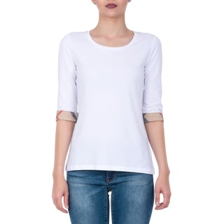Burberry White 3/4-sleeve Medium T-shirt