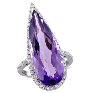 Miadora Signature Collection 14k White Gold Pear and Checkerboard-Cut Amethyst and 1/2ct TDW Diamond Halo Ring (G-H, SI1-SI2)