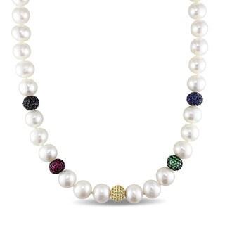 Miadora Signature Collection 14k White Gold Freshwater Pearl 1ct TDW Black Diamond Multi-Gemstone Rondelles Necklace (11-12mm)