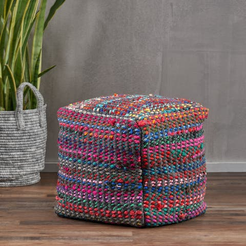 Madrid Handcrafted Boho Fabric Pouf by Christopher Knight Home