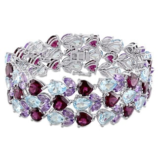 Miadora Signature Collection Sterling Silver Heart Pear and Marquise-Cut Sky-Blue Topaz Garnet Amethyst Multi-Row Bracelet