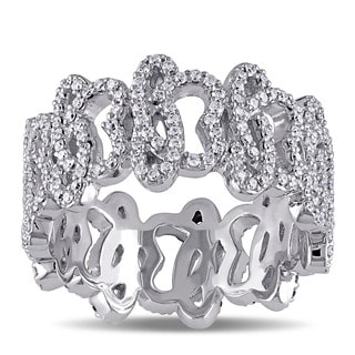 Miadora Signature Collection 14k White Gold 1ct TDW Diamond Abstract Design Ring